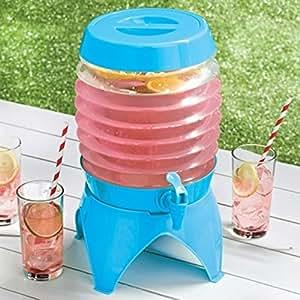 Dispensador de bebidas de plástico plegable vintage con tapa, zumo, agua, camping, 5,4 l, color azul