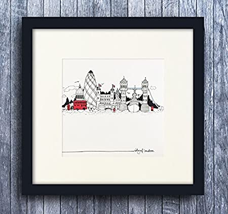 25x25cm Small London Black & White Sketch Landmarks \'City Of London ...