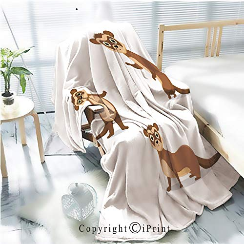 AngelSept Printed Throw Blanket Smooth and Soft Blanket,Ferret Illustrations in Different Poses for Sofa Chair Bed Office Travelling Camping,Kid Baby,W31.5 x H47.2