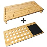 Bamboo Computer Desktop Organizer and Lap Desk Board for Laptops up to 17' Wide. Built-in Mouse Pad Plus Slots for Smartphones and Tablets.