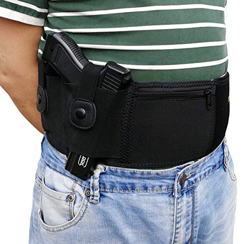 topmeet Belly Band Holster for Concealed Carry,Appendix Pistol Holster Tactical Magazine Pocket Fit Glock 19 43,SW MP Bodyguard .380 .38 Special,Revolver,Ruger,Colt,Walter,Taurus,XL (Best Concealed Carry Holster For Glock 30sf)