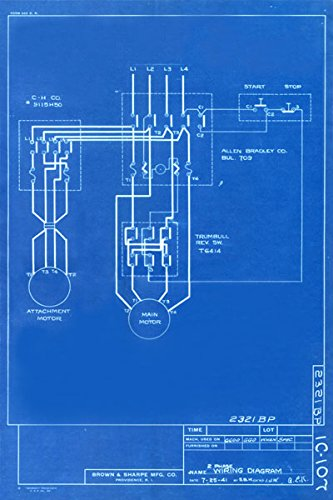Vintage Blue Print Poster - Wiring Diagram 1941 Canvas Art