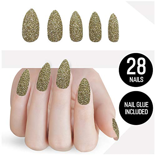 Tip Beauty Glitter Fake Nail Kit, Faux Nails for Women, Fake Nails for Kids, Glue on Nails, Instant Nails for Ladies, Professional Nail Tips - MSRP $20 (24K) ()
