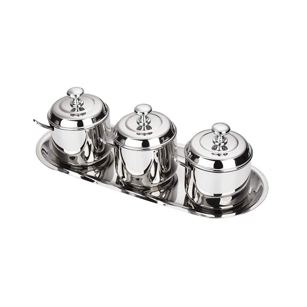MINGRUIGONGMAO Seasoning Jar, 3 Stainless Steel Seasoning Jars, With 3 Stainless Steel covers,3 Stainless steelSeasoning Spoons, Stainless steeltray。 Plush toys (Color : Silver) by MINGRUIGONGMAO