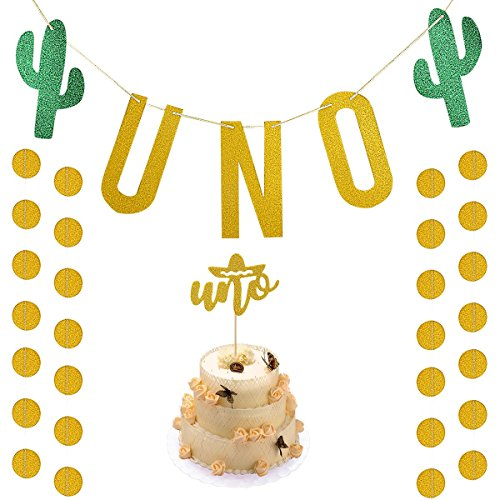 Gold Glittery UNO Fiesta First Birthday Banner with UNO Cake Topper and Gold Glittery Circle Dots Garland,Fiesta Cactus Taco Party Decoration Supplies]()