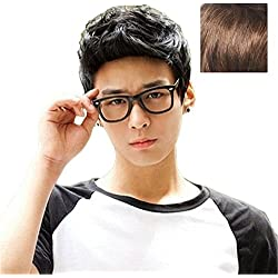 BERON New Fashion Cool Man Boys Short Wig with Wig Cap (Light Brown)