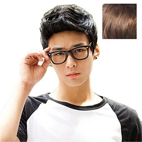 - BERON New Fashion Cool Man Boys Short Wig with Wig Cap (Light Brown)