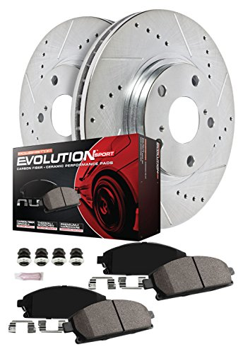 Power Stop K7228 Front & Rear Brake Kit with Drilled/Slotted Brake Rotors and Z23 Evolution Ceramic Brake Pads ()