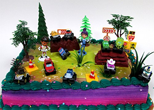 BLAZE and the Monster Machines 22 Piece CAKE Topper Set Featuring 12 Blaze Figures and Decorative Themed Accessories, Figures Average 1