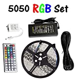 econoLed 16.4-Feet SMD 5050 5M Waterproof 300LEDs RGB Flexible LED Strip Light Lamp Kit with 44 Key IR Remote Controller W/ 12V 5A Power Supply Adapter