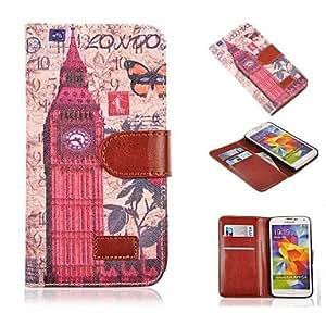 MOFY-Londres big ben patr—n pu cuero caso de cuerpo completo de la vendimia con soporte de la ranura de tarjetas para i9600 samsung galaxy s5