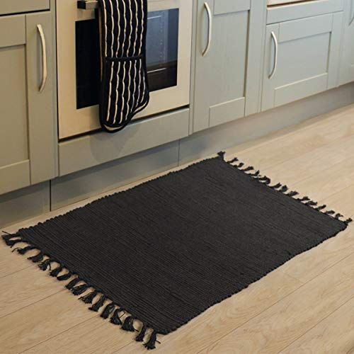 Chindi Rag Rug, Seavish Hand Woven Recycled Cotton Area Rug Braid Entryway Floor Mat for Laundry Room Kitchen Bathroom Bedroom Dorm Solid Black, 2'W x ()