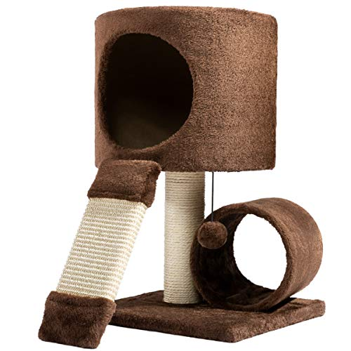 Hollypet Cat Activity Tree Bed Scratching Post Toys Pet Furniture Scratcher Play House Condo Coffee 21 Inch High