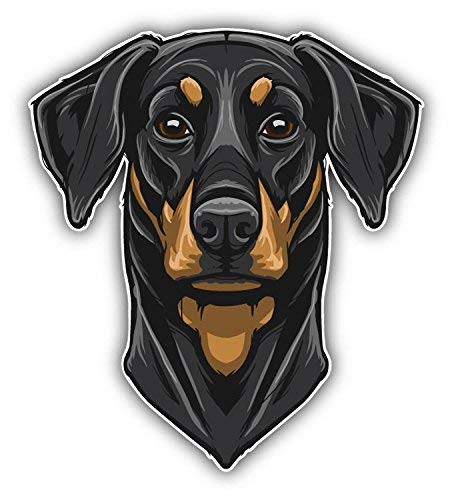 Mildred Rob Doberman Pinscher Head Mascot Home Decal Vinyl Sticker 4 X 5 inches ()