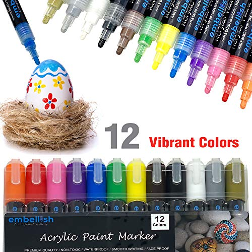 Paint Pens for Rock Painting, Stone, Canvas, Ceramic, Fabric, Glass, Wood, Metal, Set of 12 Acrylic Paint Markers with Medium tip -