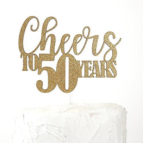NANASUKO 50th Birthday/Anniversary Cake Topper - Cheers to 50 Years - Double Sided Gold Glitter, Premium Quality Made in USA -