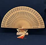 Brown Sandalwood Folding Hollow Carved Dyed Hand Fan Wedding Accessories Decoration Party Favors