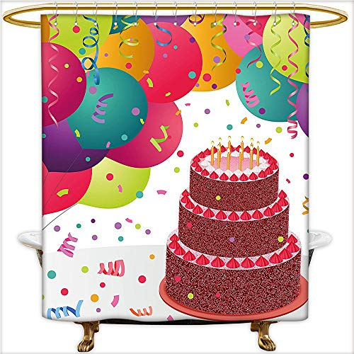 Qinyan-Home Shower Curtain Spa Strawberry Triplex Cake Candles Ribbons Balloons Newborn Celebration for Multicolor. Waterproof and Anti-Mold Polyester Bathtub with 12 Hooks.W54 x H72 Inch