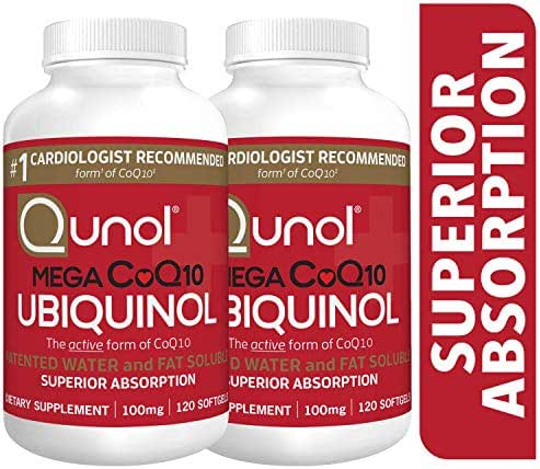 Qunol Mega Ubiquinol CoQ10 100mg, Superior Absorption, Patented Water and Fat Soluble Natural Supplement Form of Coenzyme Q10, Antioxidant for Heart Health, 240 Count Softgels