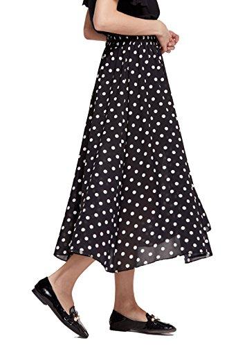 - Chartou Women's Casual Contrast Polka Dot Chiffon Bohemia Swing Beach Midi A-Line Skirts (Black, X-Large)