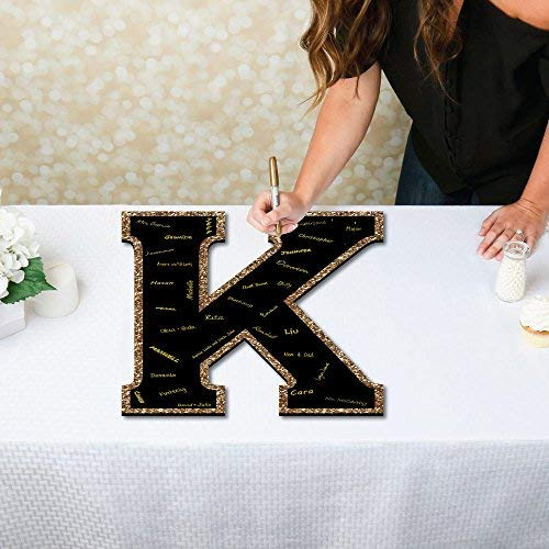 Big Dot of Happiness Signature Letter K - Guest Book Sign Letter - 21 inches Foam Board Party Guestbook Alternative - Black with Gold Monogram Letter - K