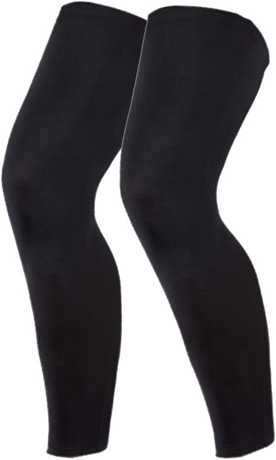 N'joy MAKLULU Compression Leg Sleeves, 1 Pair for Men, Women - Full Length Stretch Long Sleeve, Non-Slip Inner Bands (Black,White)