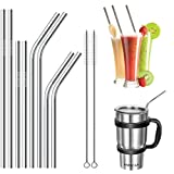 FSDUALWIN Stainless Steel Straws, Reusable Metal Drinking Straws (4 Straight and 4 Bend) + 2 Cleaning Brushes, Eco-Friendly,Silver