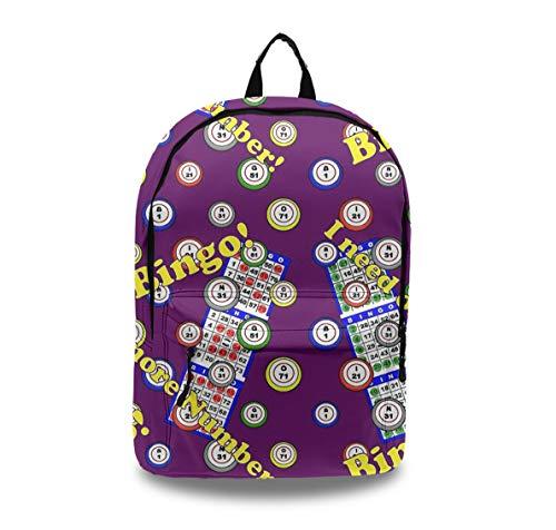 YongColer Large Capacity Stylish Backpack for Men Women Kids Teens, School Bookbag Anti-Theft Outdoor Travel Daypack Laptop Computer Bag - Bingo Dots Purple