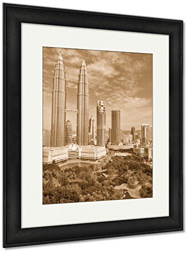 Ashley Framed Prints Petronas Towers Of Kuala Lumpur And Gardens, Wall Art Home Decoration, Sepia, 30x26 (frame size), Black Frame, (Lumpur Tower)