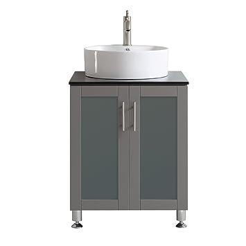 Vinnova 745024 GR BG NM Tuscany 24u0026quot; Single Vanity In Grey With