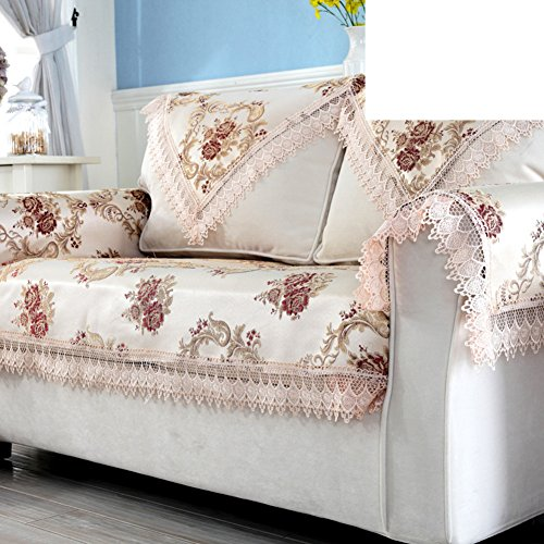 DHWJ European-style luxury sofa towel Lace padded cloth leather sofa cushions-A ()