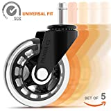 Office Chair Wheels (Set of 5) - Universal Fit - 3'' Rollerblade Office Chair Caster - Heavy Duty - Smooth & Silent - Safe for All Floors, Including Hardwood & Carpet - Replacement for Desk Floor Mat
