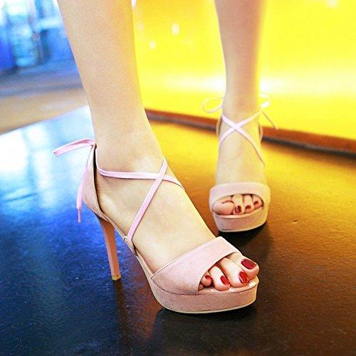 Xing Lin Zapatos De Verano Para Las Mujeres Cuñas Suede Las Tiras Transversales 10Cm Fina Con Sandalias De Tacón Alto Verano Mujer Toe Calzado Impermeable Discoteca Roma Marea Pink