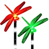 Solar Dragonfly Decor Lights Color Changing Outdoor Decorations Stakes LED Night Light Garden Pathways Landscape Decorative Waterproof Lawn Patio Yard Walkway Pathway Fairy (Set of 2)