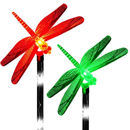 Solar Dragonfly Decor Lights Color Changing Outdoor Decorations Stakes LED Night Light Garden Pathways Landscape Decorative Waterproof Lawn Patio Yard Walkway Pathway Fairy (Set of 2) ()