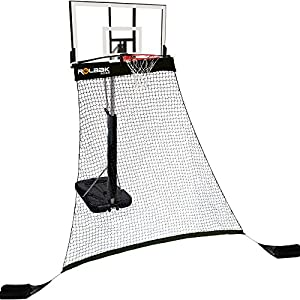 Rolbak Silver Basketball Return Net with 2 Refillable Sand Bags, Webbing Harness, and Nylon Brackets