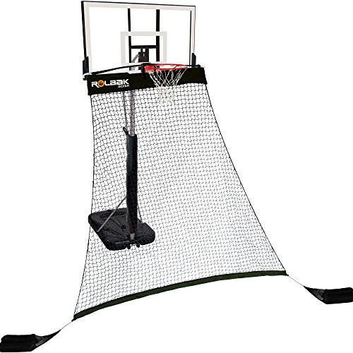 Rolbak Silver Basketball Return Net with 2 Refillable Sand Bags, Webbing Harness, and Nylon Brackets (Basketball Rebounding Net)