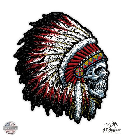 (Native American Headdress Skull - 3