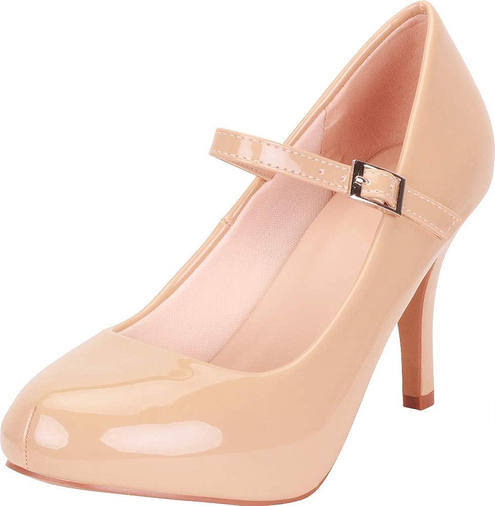 Taupe Patent Pu Cambridge Select Women's Mary Jane Hidden Platform Stiletto High Heel Pump