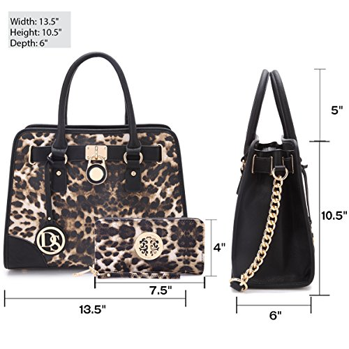 Matching Bags 6892 Top Purse Shoulder Satchel Women's Wallet 02 Wallet Handle Belted Designer Handbag Dasein Padlock Matching Bag w Handbags Leopard T1w60qY