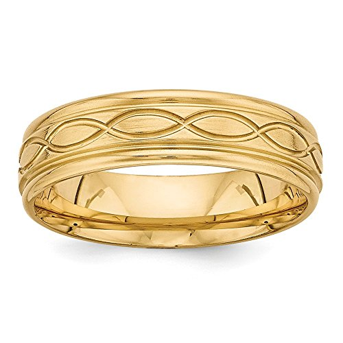 14k Yellow Gold Light Comfort Fit Fancy Band by Saris and Things