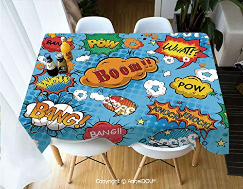AngelDOU Rectangle Printed Waterproof Tablecloth Famous Comic Strip Speech Balloons Icon Chat Scream Magazine Signs Pop Graphic for Home Kitchen Dining Room Picnic Party,W55xL70(inch) - Craft Magazine Trends