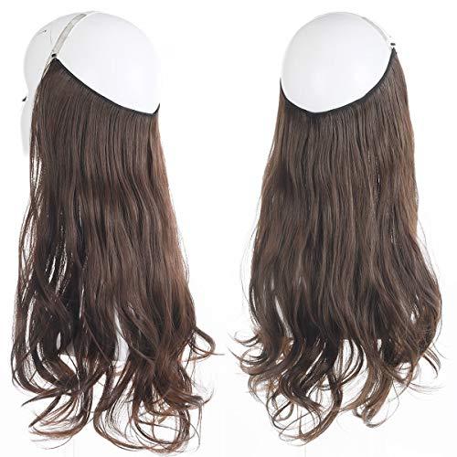 "Dark Brown Hair Extension Halo Hairpiece Long 18"" Secret Natural Wavy Synthetic Hair Pieces For Women Flip Hidden Wire Crown Headband Japan Heat Temperature Fiber No Clip in(M01#6Dark Brown)"
