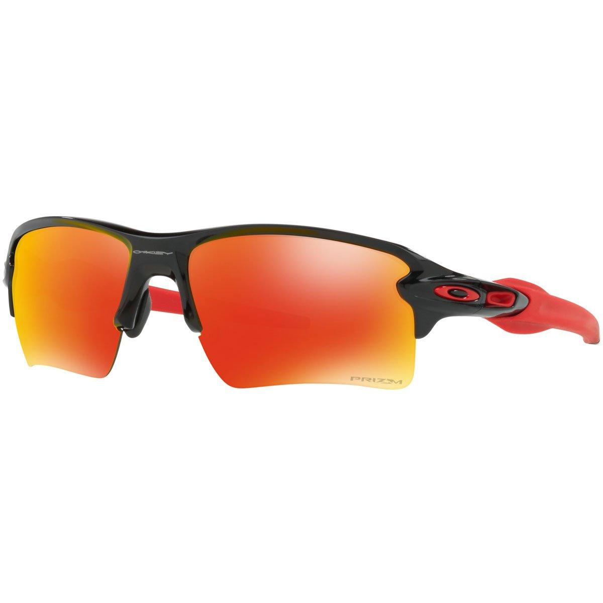 Oakley Men's OO9188 Flak 2.0 XL Rectangular Sunglasses, Polished Black/Prizm Ruby, 59 mm by Oakley