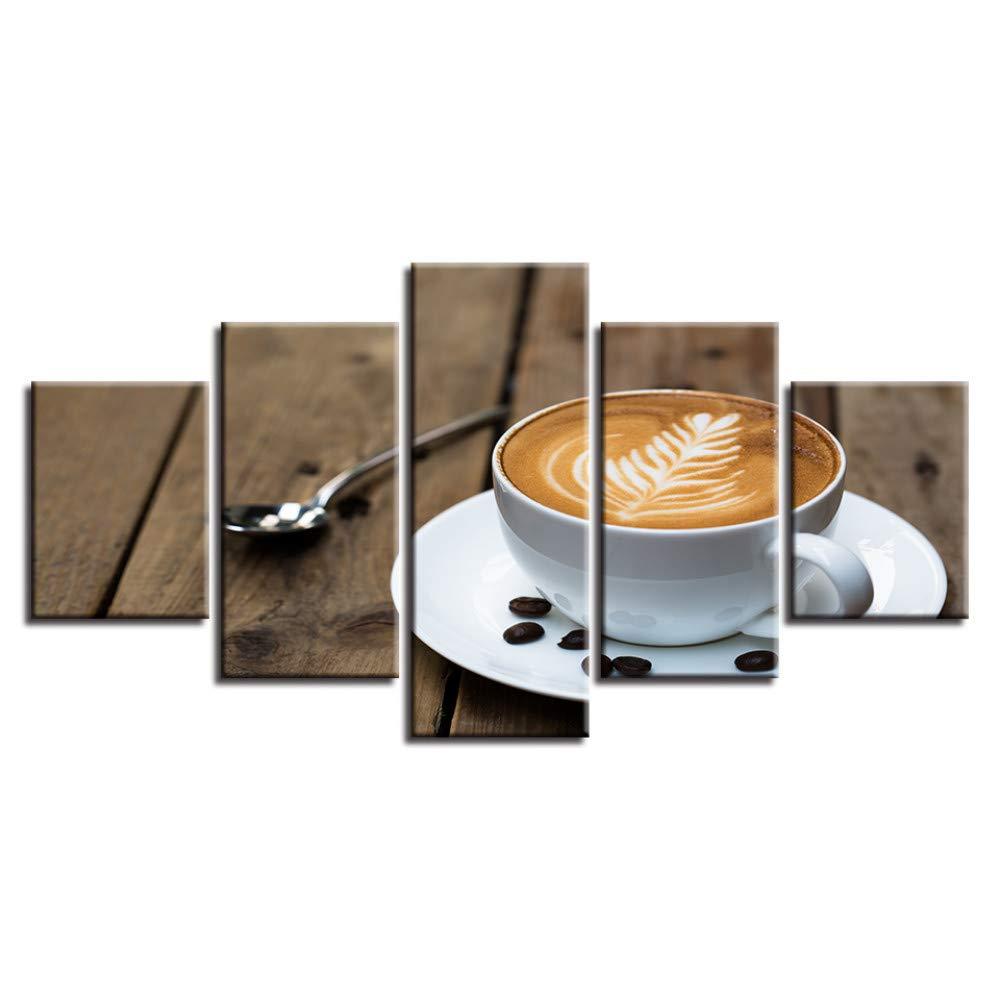 DYDONGWL Decoración del Hogar Pintura de la Lona 5 5 5 Unidades de Té HD Impresiones Arte de la Pared Granos de Café Oficina Modular Imágenes Restaurante Ilustraciones Cartel bebfa5
