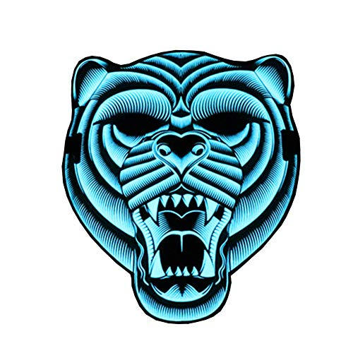 Halloween Mask Outline (ESA Supplies LED Party Mask Tiger Sound Activated Glowing Mask Luminous Flashing Mask for)