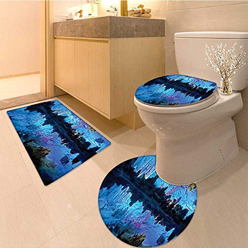 (Non-Slip Bathroom Rug Mats Set Illuminated Reed Flute Cistern with Artifical Lights Crystal Palace 3 Pieces Microfiber Soft)
