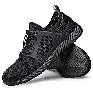 Winemuwang Steel Toe Shoes Mens Safety Work Industrial Construction Breathable Sneakers Lightweight Non Slip Outdoor Shoes, Black-breathable, 7
