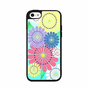 Colorful Flowers on Blue Background 2-Piece Dual Layer Phone Case Back Cover iPhone 5 5s