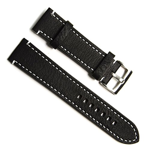 20mm Handmade Vintage Cowhide Leather Watch Strap/Watch Band (White Stitch/Black)